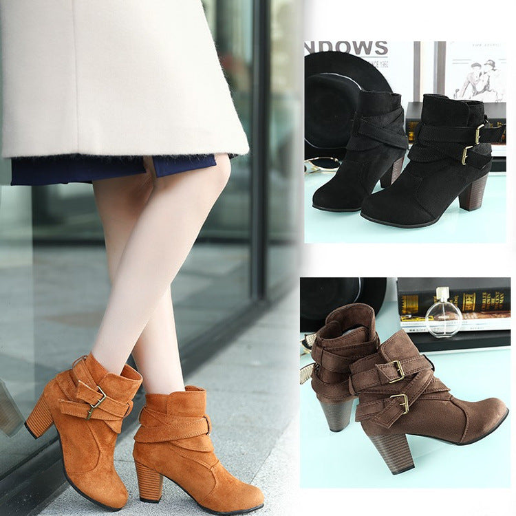 Women's Boots Chunky Heel Round Toe Buckle Microfiber Booties / Ankle Boots Vintage Fall & Winter Black / Light Yellow / Brown