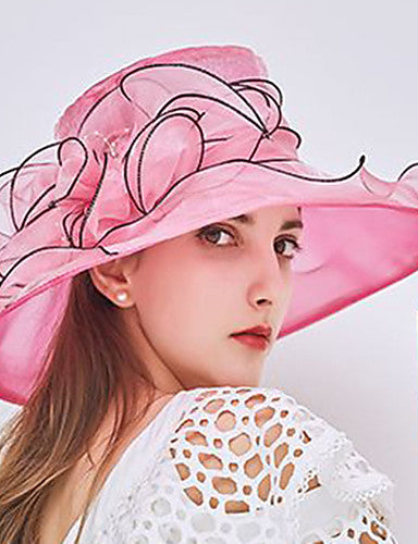Women's Kentucky Derby Party Holiday Lace Bucket Hat Floppy Hat Straw Hat-Patchwork Ruffle All Seasons Fuchsia Wine Light Brown