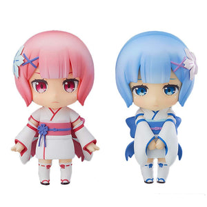 Re:Life in A Different World from Zero Rem Ram Nendoroid Action Figure About 4 Inches(2-Piece)