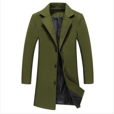 Men's Work Fall / Winter Plus Size Long Trench Coat, Solid Colored Fantastic Beasts Turndown Long Sleeve Cotton / Polyester Army Green / Khaki / Royal Blue