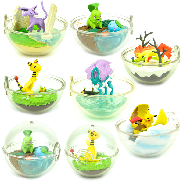 6pcs Japan capsule toys cute kawaii Eevee Vaporeon Jolteon Flareon Bulbasaur Charmander blind box ball scene miniature figures