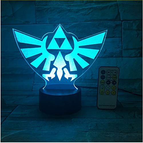 The Legend of Zelda Triangle 3D USB Led Night Light 7Colors Illusion Lamp Touch Or Remote Control Kids Living Bedroom Desk Lamp
