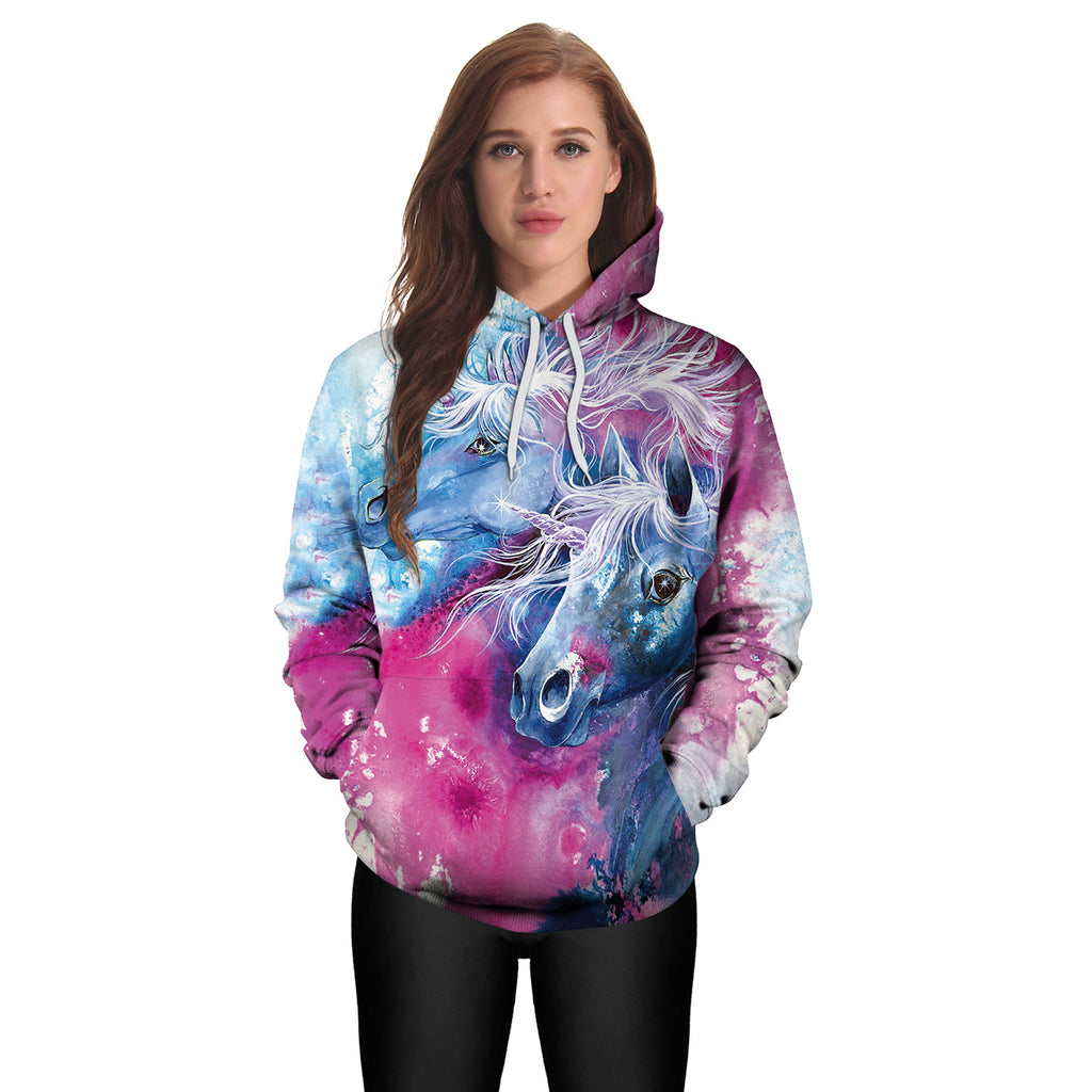 2019 New Arrival Unicorn Hoodies 3D Printed Hiphop Kawaii Unicornio Hooded Women Sweatshirt