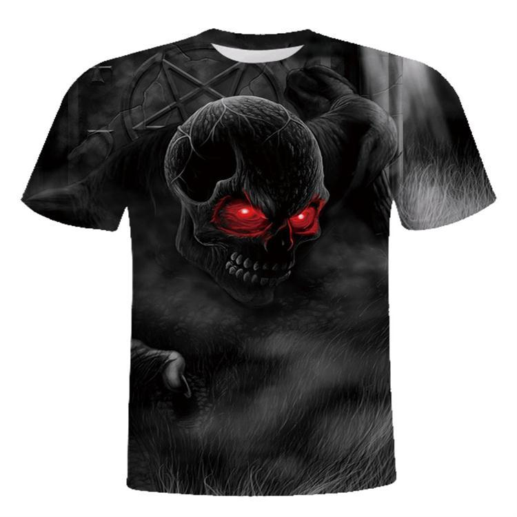 Men's Daily Club Basic T-shirt - Skull Print Round Neck Black / Short Sleeve / Summer