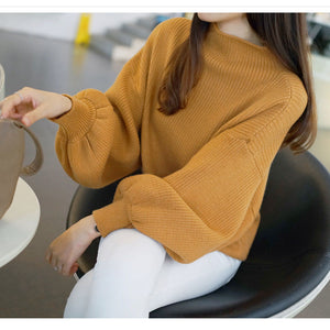 Solid color long sleeve sweater pullover