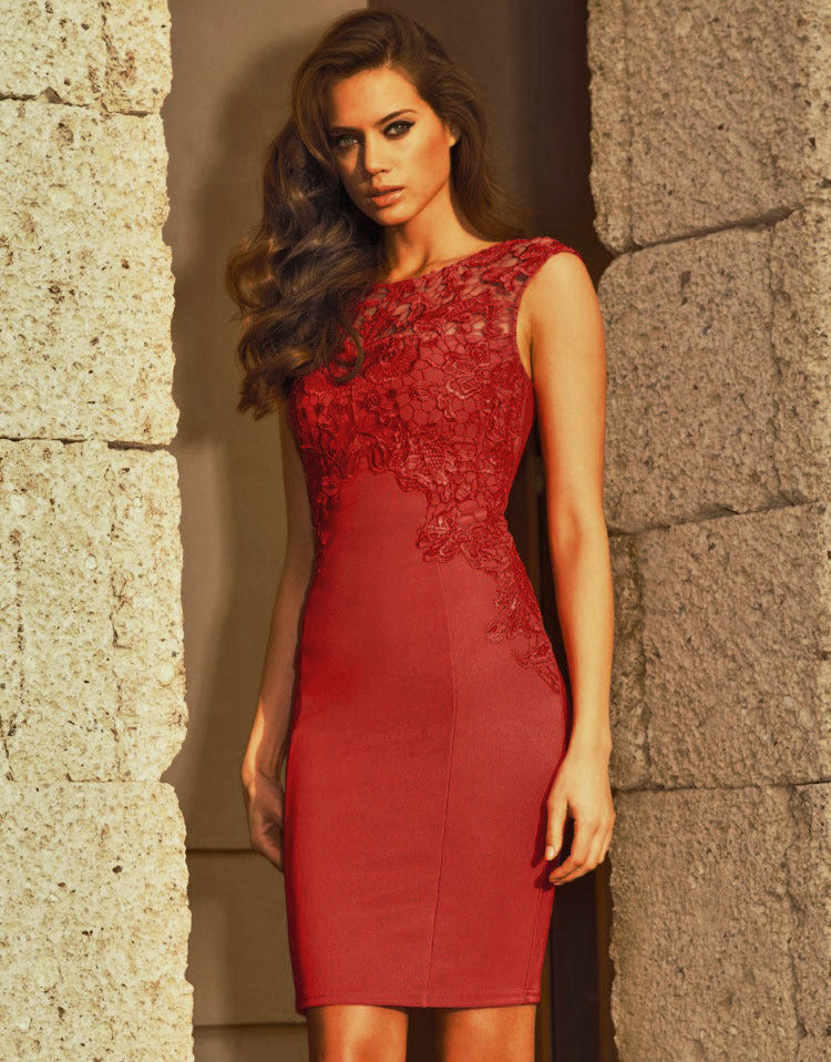 Daily Going out Slim Sheath Dress Solid Colored Red, Lace Red L XL XXL