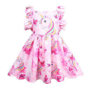 Kids Girls' Cute Going out Rainbow Sleeveless Knee-length Polyester Dress Blushing Pink