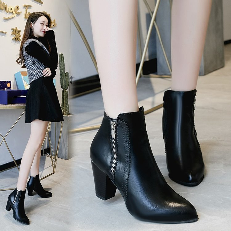 Women's Boots Chunky Heel Pointed Toe PU(Polyurethane) Booties / Ankle Boots Fall & Winter Black / Brown
