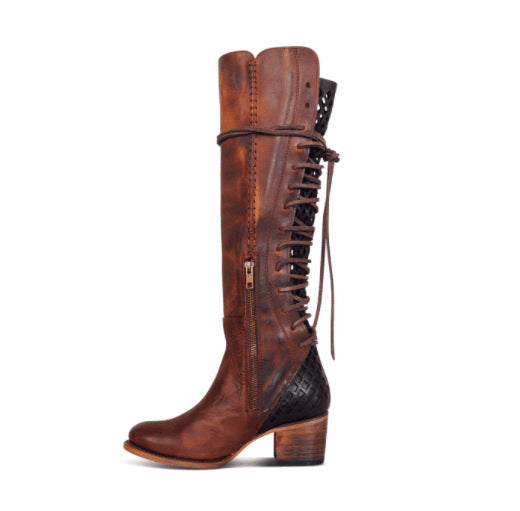 Women's Boots Comfort Shoes Low Heel Round Toe PU Mid-Calf Boots Fall & Winter Brown / Gray