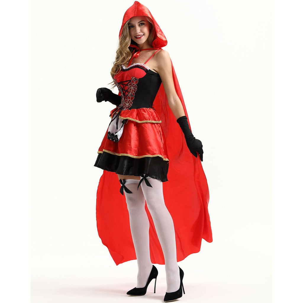 Women Sexy Little Red Riding Hood Halloween Costume Knee Length Skirt and Removable Hood Cape