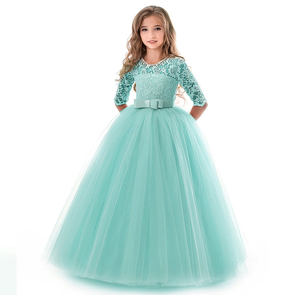 New Princess Lace Dress Kids Flower Embroidery Dress For Girls Vintage Children Dresses For Wedding Party