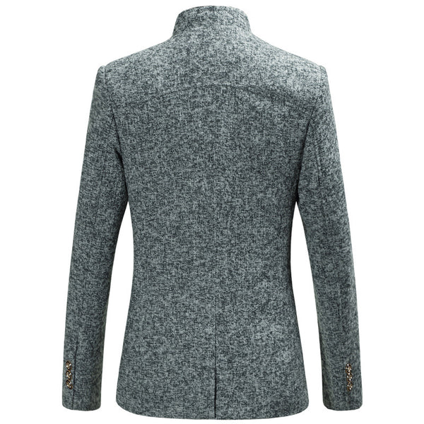 Men's Party / Daily Spring & Fall Regular Blazer, Solid Colored Stand Long Sleeve Polyester / Spandex Navy Blue / Gray / Wine