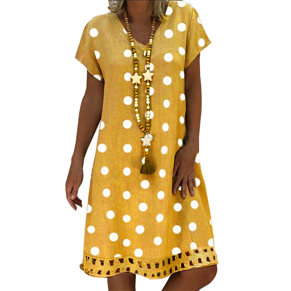 Adisputent Polka Dot Print Short Sleeve V-neck Dresses Boho Clothes Sundress Women Summer Casual Loose Dress Fashion Plus Size