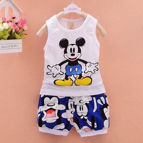 Korean Cartoon Sleeveless Tops Vest + Shorts 2PCS Infant Clothing Outfits Kids Bebes Jogging Suits