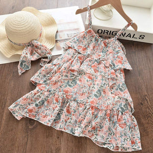 Bear Leader Girl Princess Dress New Summer Girls Dress Floral Sweet Party Suits Butterfly Clothing