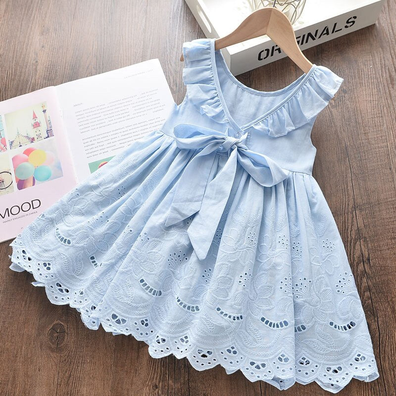 2020 Girls Clothes Sleeveless Cartoon Embroidery Female Children's Cake Dress Girls Clothing