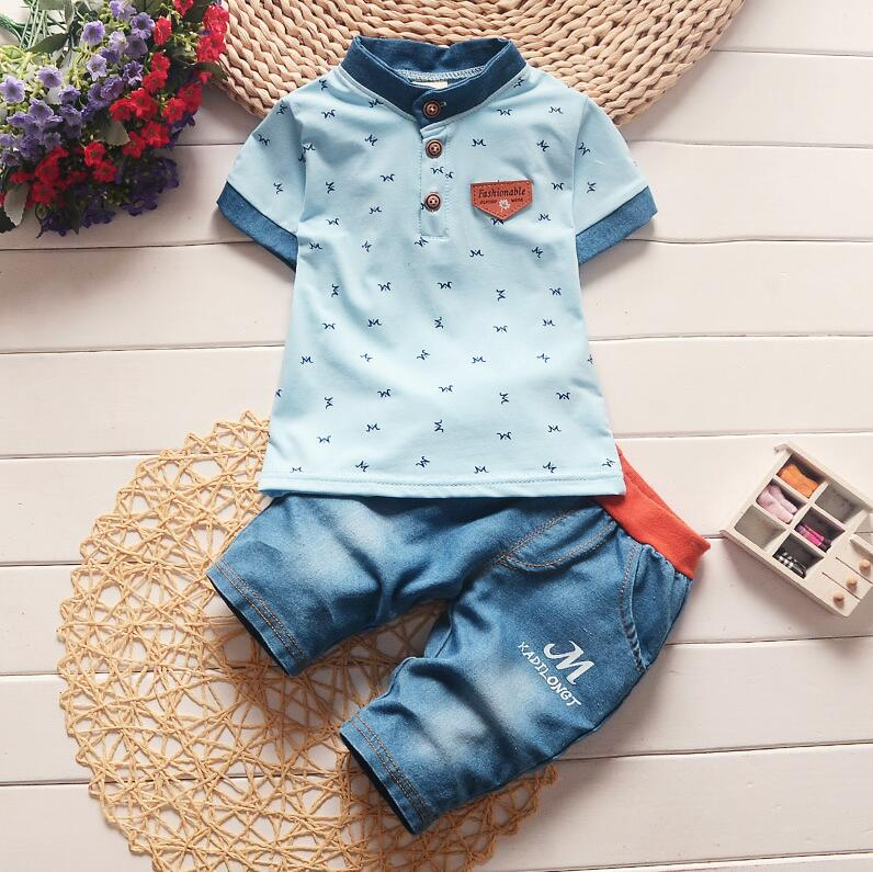 Baby boy clothing sets toddler Outfit Tracksuit T- shirt + Striped overalls kids boys leisure clothes suit