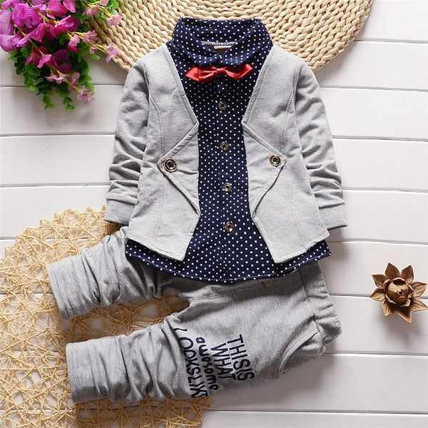 Baby boys clothing set infant boys clothes denim Long sleeve t-shirt +pants 2PCS