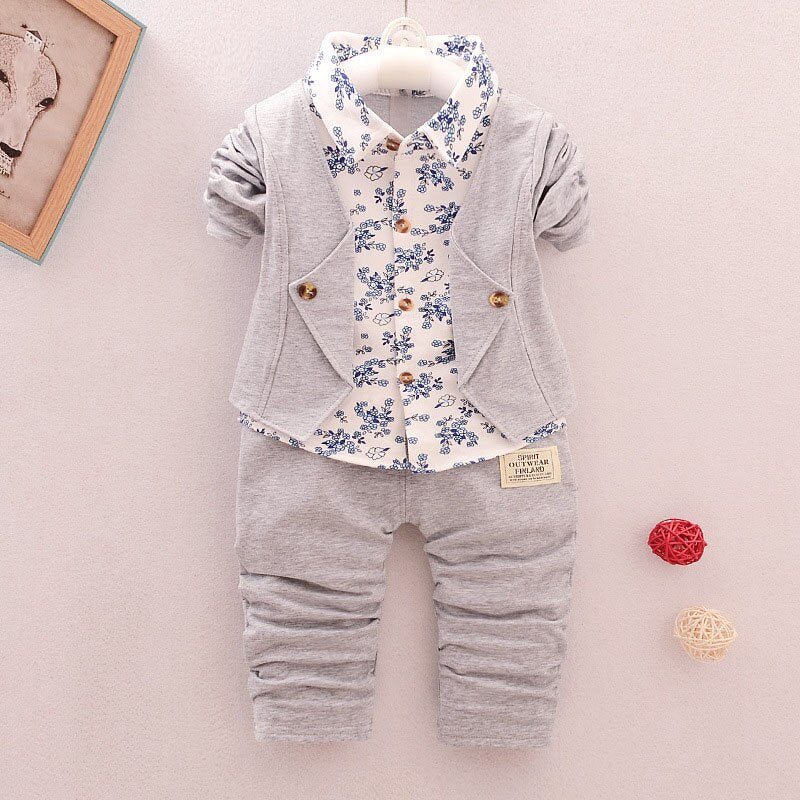 Baby Boy Gentleman Clothing Sets Kids Floral Clothes Shirt + Pants 2pcs