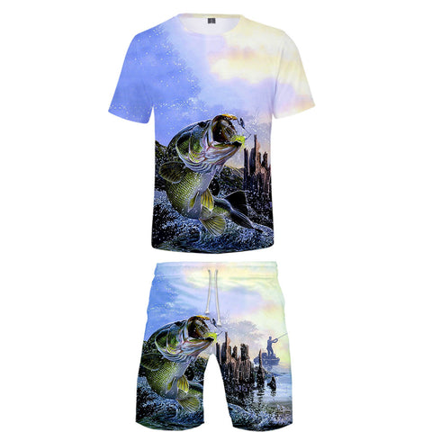 Big fish Printed 3D Two Piece Set Crop Top+Shorts Hot Sale kpop Streetwear Clothes