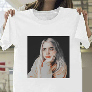 Billie Eilish T Shirt Harajuku  Fans White Cotton Men Camiseta Mujer Hot Selling Man Aesthetic Top Tee Plus Size Streetwear Cool
