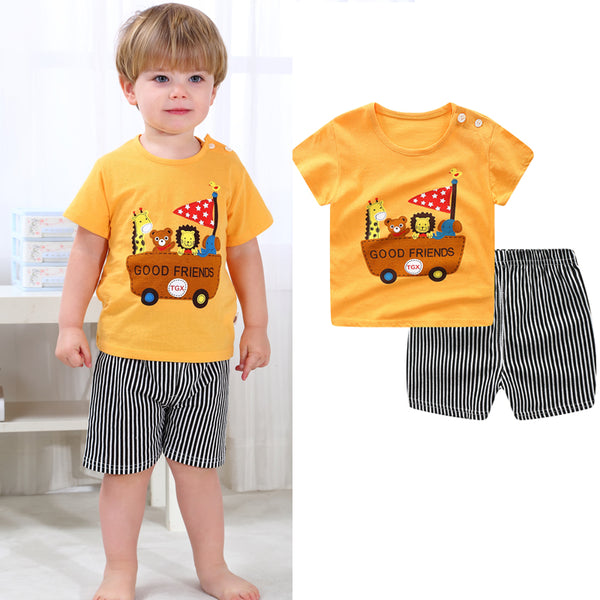 Baby Boy Clothes Sport Clothing Tracksuit Active  Striped Tshirt +shorts Toddler Clothing Sets