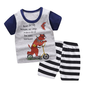 Brand Designer Cartoon Boat Clothes T-shirt+shorts Baby Girl Casual Clothing Sets