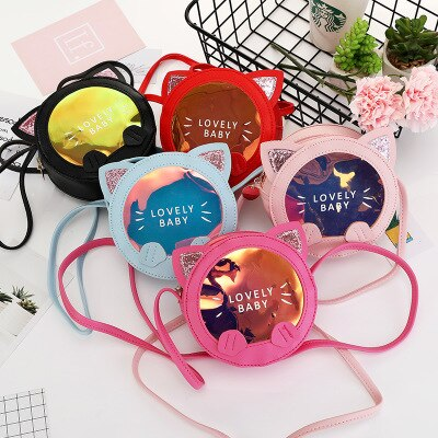 Kawaii Kids Girl Small Cat Coin Wallet Pouch Baby Bowknot Shoulder Bag