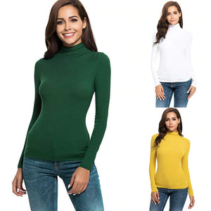 Casual Women basic T Shirt Long Sleeve Solid Slim Fit white Turtleneck Tee Shirt Brief daily Modis Vogue Tops Poleras Mujer#sw
