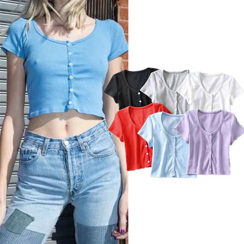 Crop Top knitted short sleeve O-Neck Vest Women Camisole Basic Bottoming Topswomens tops short sleeve Brandy Melville Style Tops