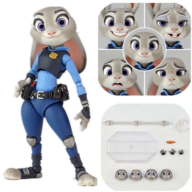 Disney Pixar Zootopia Zootropolis Toy Rabbit Judy Head can be replaced Action Figure Nick Fox Rabbit Anime toy for children Gift