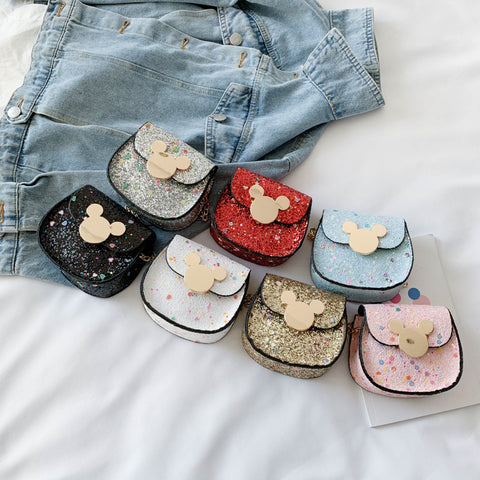 Disney summer sequin children's bag fashion Mickey Mouse girl mini crossbody bag wild chain small bag