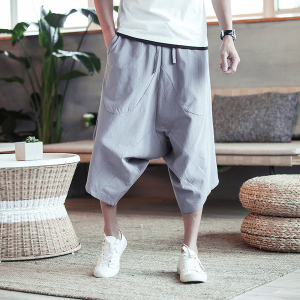 2020 Mens Summer Cotton Linen Joggers Pants Male Vintage Chinese Style Sweatpants Fashions