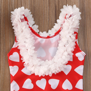 Fashion Toddler Infant Baby Kids Girls Floral Swimsuit Heart Print Swimwear