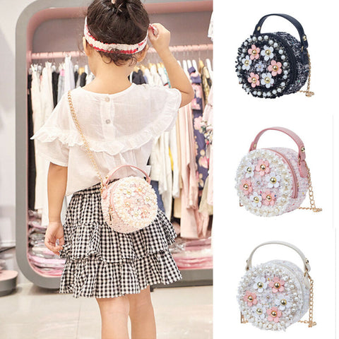 Flower Shoulder Bags Children PU Leather Messenger Bag Girls Crossbody Bag