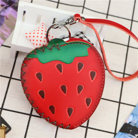 Mini coin purse fruit card bag key bag clutch leather handmade creative strawberry bag children