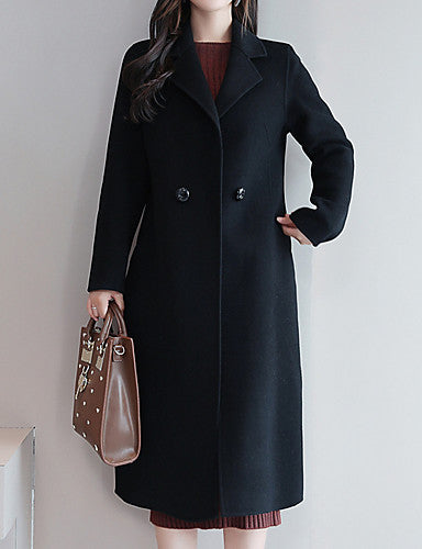 Women's Daily Long Coat, Solid Colored Peaked Lapel Long Sleeve Polyester Black / Royal Blue / Red