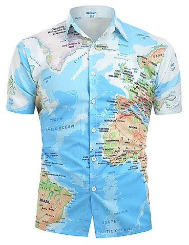 Men's Daily Casual Basic Cotton Shirt - Graphic Print Classic Collar Blue / Short Sleeve