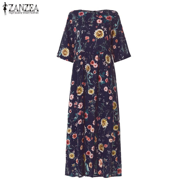 ZANZEA Women Bohemian Dress 2020 Fashion Summer Sundress Ladies Casual Daily Vestidos Long Maxi Dresses Beach Party Robe Femme