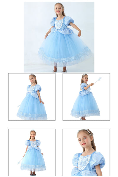 Girls Cinderella Dress Toddler Blue Prom Costume Kids Princess Ball Gown Live Action Movie Outfits Wedding Party Midi Outfits