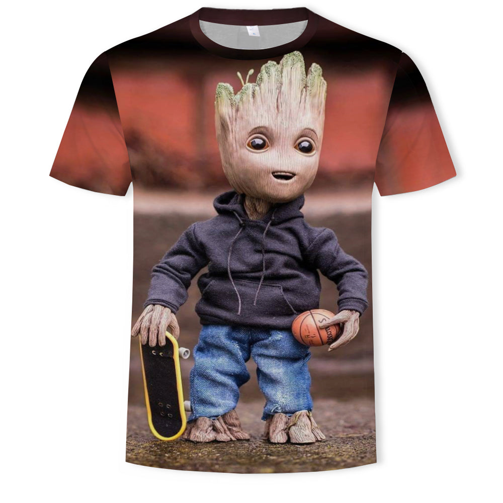 Fashion Short Sleeve T Shirt Men Young Groot Avengers Hero Printed Top Tees Men Casual O Neck T-Shirt Unisex TShirt 2019
