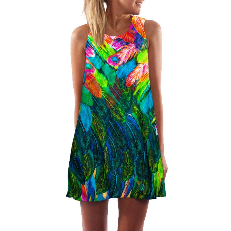 Ehuanhood Sleeveless Boho Beach Dress Women Floral Feather Print 2020 Summer Dress New Mini Casual Dresses for Ladies Vestidos