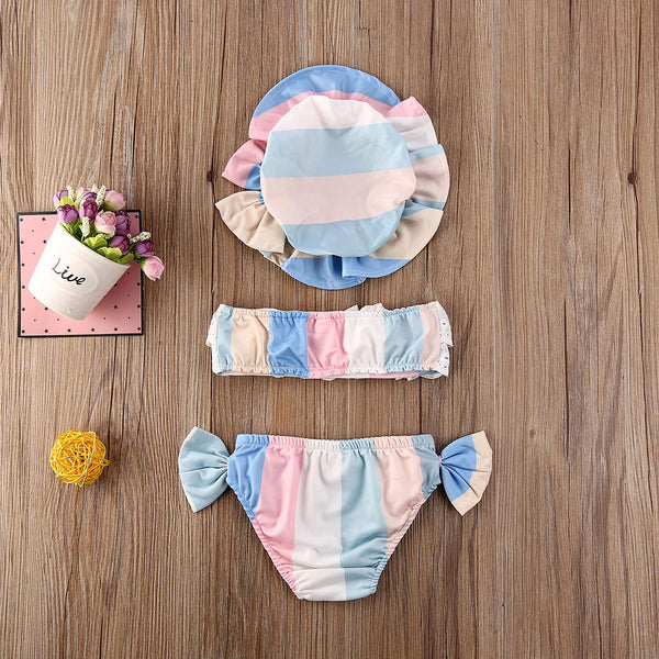 3Pcs Newborn Baby Girls Summer Swimsuit Cute Floral Print Toddler Baby Girls Kids Swimwear