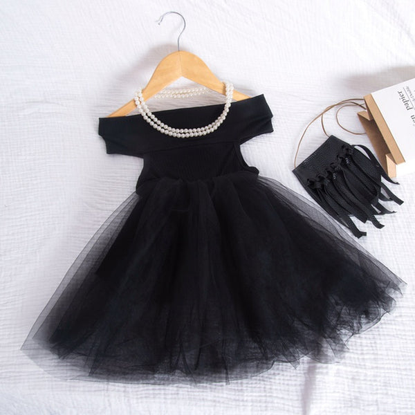 Tulle Princess Party Dresses For Girl Off Shoudler Solid Dress 1-5Years Fashion Clothes