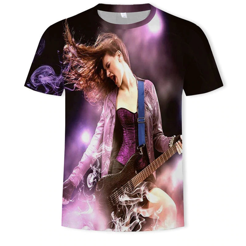 Rock star T-shirt Men Music T-shirts 3d Guitar Tshirts Casual Metal Shirt Print Gothic Anime Clothes Short Sleeve t shirts