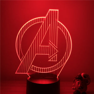 3D LED Night Light Movie Captain America Badge Logo Superhero Action Figure 7 Colors Touch Optical Illusion Table Lamp Model