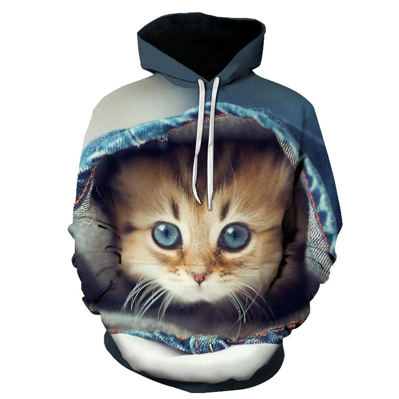 Cartoon kawaii hoodies 3D Printed Cat oversize's Sweatshirt Pullover Long Sleeve Hooded