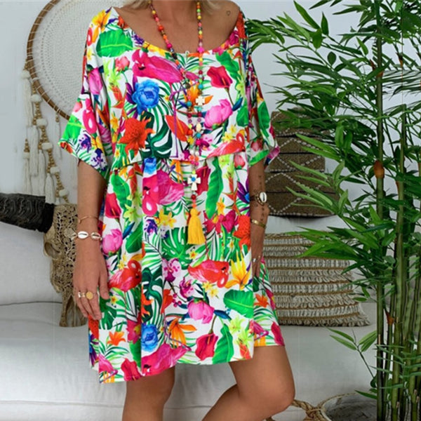 Plus Size Women Fashion Floral Print O Neck Elbow Sleeve Summer Loose Mini Dress