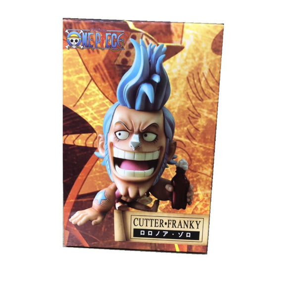 One Piece Cute Ver. FRANKY Sitting Q Laughing Out PVC Action Figures OP Luffy Zoro Lovely Collectibles Model 10cm