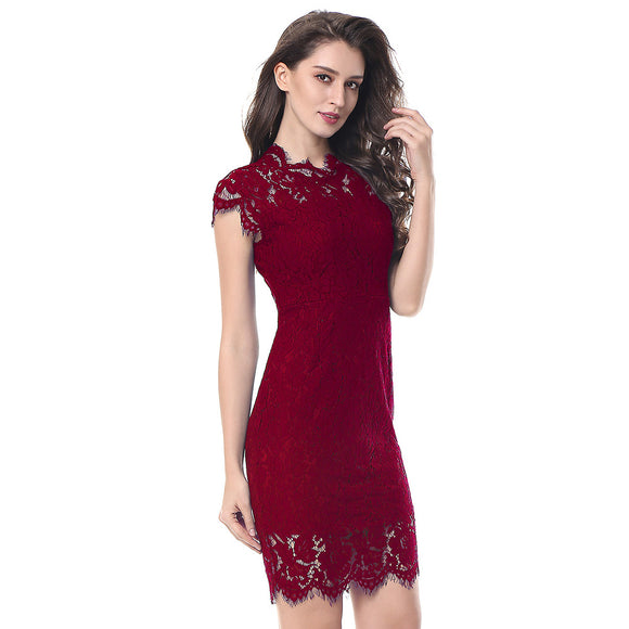 Party Lace Dress Women Elegant Sleeveless Floral Eyelash Lace Bodycon Pencil Office Red Vestidos Silm 4 Colors Party
